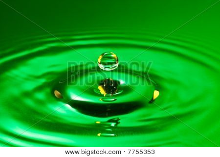 green droplet splash in a water