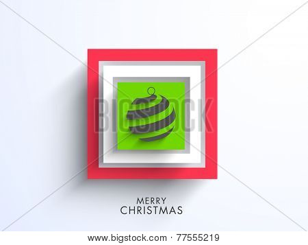 Stylish rectangle shaped frame with X-mas ball for Merry Christmas celebration on grey background.