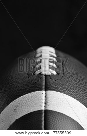 Close Up of a Football in Black and White with room for copy