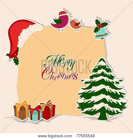 Merry Christmas celebration concept with stylish text on a frame decorated by x-mas tree, Santa cap, love bird, jingle bell and gifts.