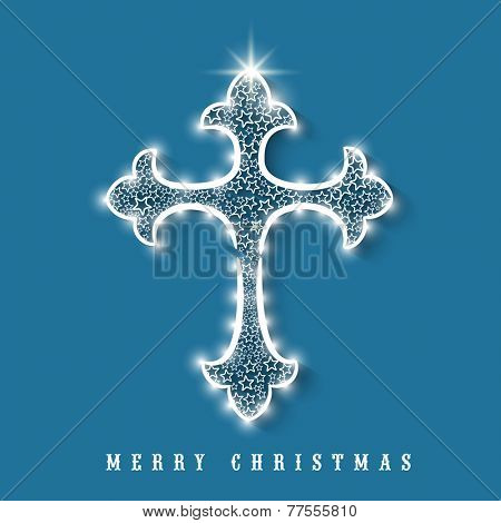 Merry Christmas celebration greeting card design with beautiful Christian Cross decorated by stars on blue background.