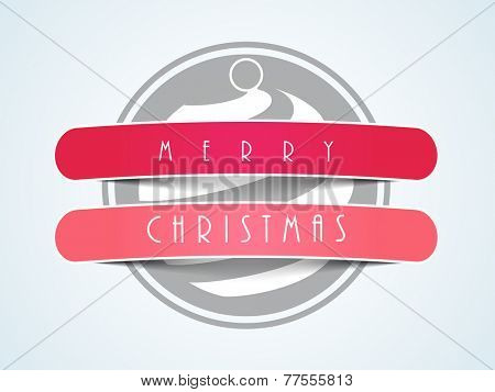 Sticker, tag or label with X-mas ball for Merry Christmas celebration on stylish background.