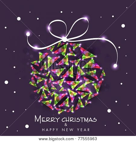 Beautiful creative X-mas Ball for Merry Christmas and Happy New Year celebration on stylish purple background.