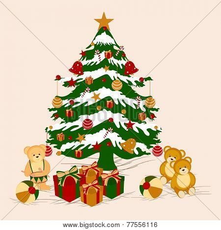 Beautiful X-mas tree with gift boxes and teddy bear for Merry Christmas and other occasion celebrations.