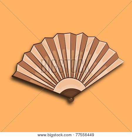 Stylish traditional paper fan of China in brown color on orange background.