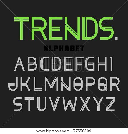 Modern font Trends, alphabet. Vector.