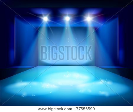 Stage spot lighting. Vector illustration.