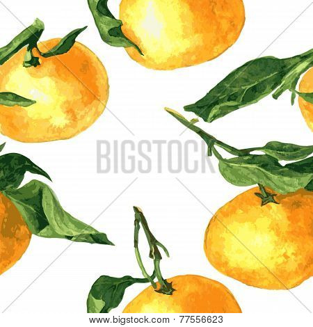 seamless pattern with mandarines