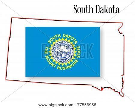 South Dakota State Map And Flag