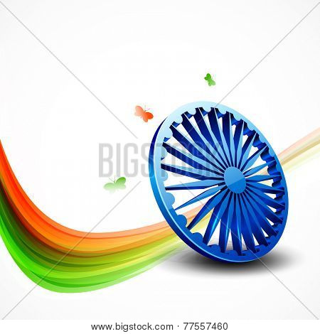 Shiny 3D Ashoka Wheel, national flag colors and flying butterflies on white background for Indian Republic Day and Independence Day celebrations.