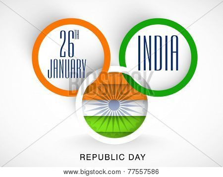 National tricolor circles with text and National Flag on grey background for Indian Republic Day celebrations.