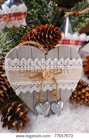 Christmas Decoration With Wooden Heart