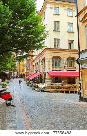 Osterlanggatan Street In Gamla Stan, Tourist Favourite Place, Stockholm, Sweden