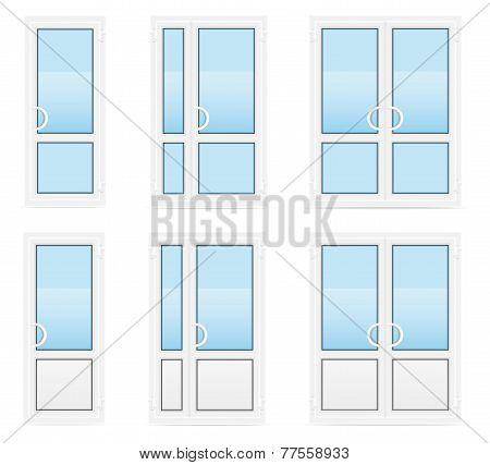 Plastic Transparent Doors Vector Illustration
