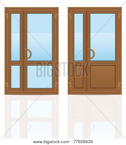 Brown Plastic Transparent Doors Vector Illustration