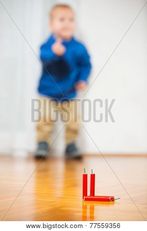 Boy and firecrackers, selective focus