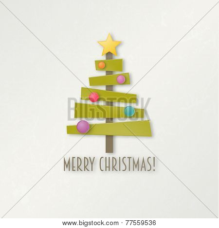 Abstract green Christmas tree with star and balls. Greeting card.