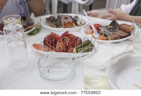 Crabs On A Picnic In A Plastic Ware