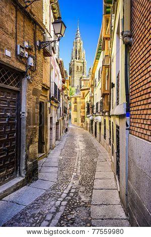 Toledo, Spain alleyway towards Toledo Cathedral.