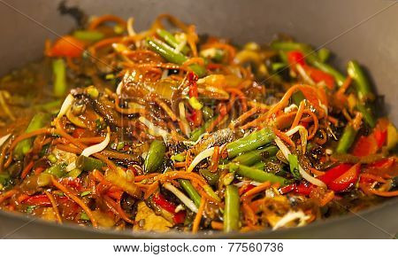 Asian Noodles With Vegetables On Wok