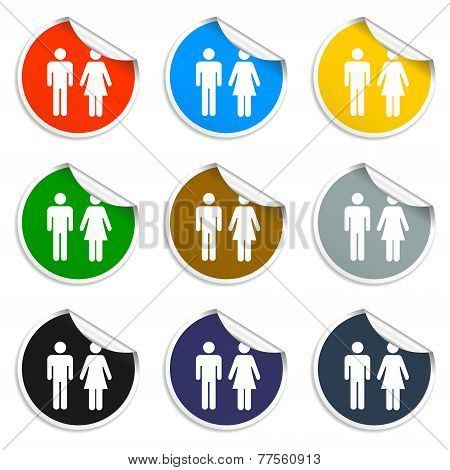 Vector Man And Woman Icons, Set Of Blank Stickers