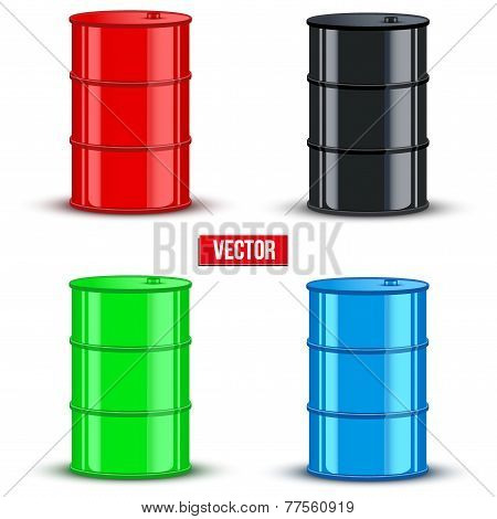 Set of metal oil barrels. Vector illustration on white background