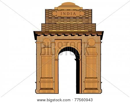 Famous India Gate monument on white background.