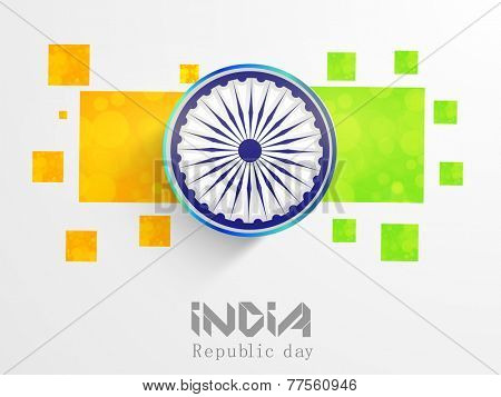 Indian Republic Day celebration with Ashoka Wheel on national flag color abstract background.