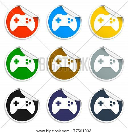 Game Controller Icon. Set Of Blank Stickers