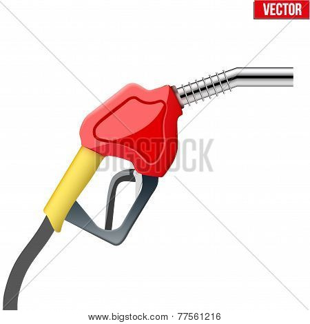 Fuel handle pump nozzle with hose isolated on white background