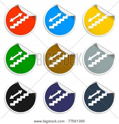 Staircase Symbol. Set Of Blank Stickers