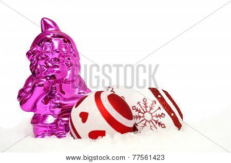christmas card with pink gnome and baubles in snow on white