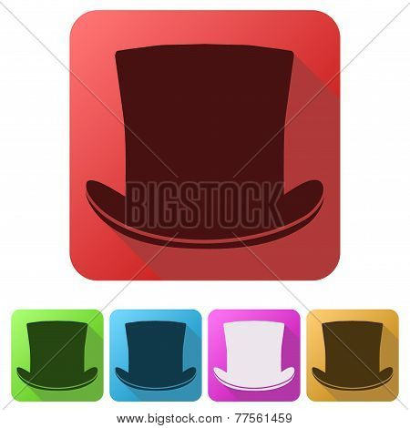 Set Flat icons of black gentleman hat cylinder