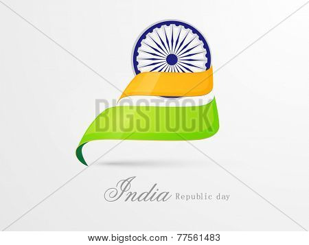 Ashoka Wheel covered by national flag color stripes on shiny white background for Indian Republic Day celebration.
