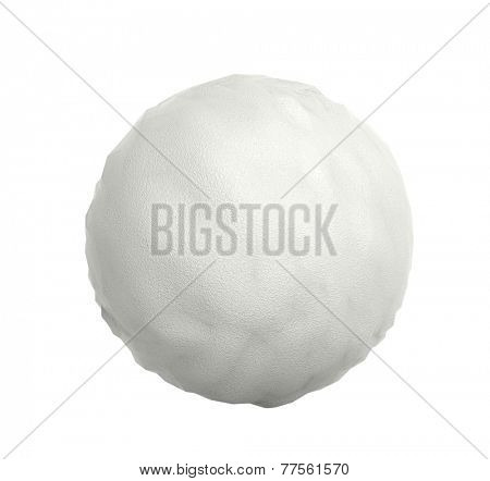 Snowball closeup isolated on white background 3D render.
