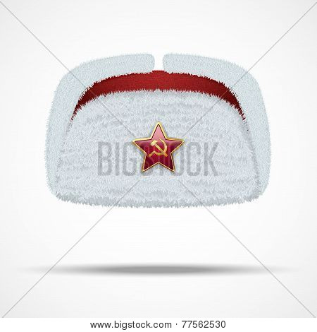 Russian white winter fur hat ushanka with red star.