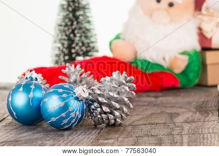 Christmas Baubles And Silver Pine Cones