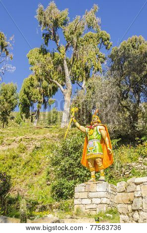 YUMANI (ISLA DEL SOL), BOLIVIA, MAY 7, 2014: A statue at