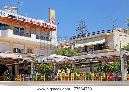 Outdoor Cafe With Colorful Chairs, Greece