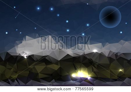 Abstract Polygonal Background - Night Mountains And Starry Sky