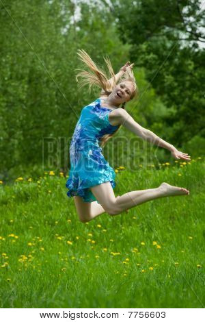 Jumping  Teen Girl