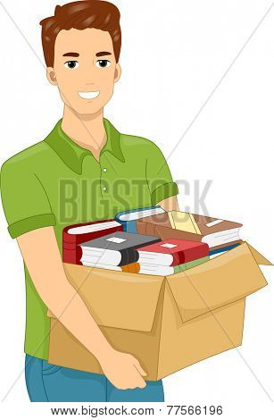 Illustration of a Man Carrying a Heavy Box Filled With Books