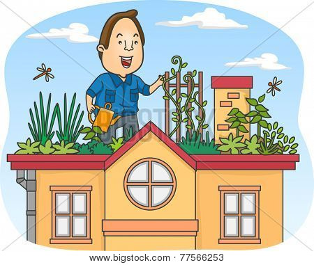 Illustration of a Man Tending to His Rooftop Garden