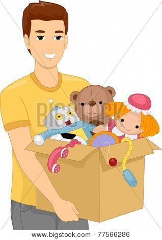 Illustration of a Man Carrying a Heavy Box Filled With Children's Toys