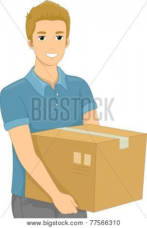 Illustration of a Man Carrying a Heavy Package