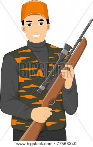 Illustration of a Man Holding a Hunting Rifle