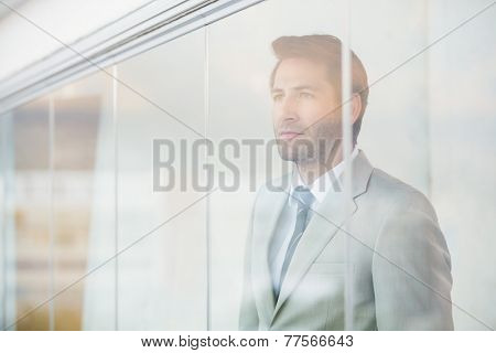 Portrait of thoughtful businessman through the window at work