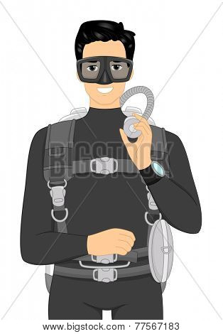 Illustration of a Man in a Wetsuit Wearing Scuba Diving Gear