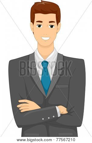 Illustration Featuring a Male Businessman Wearing Corporate Attire