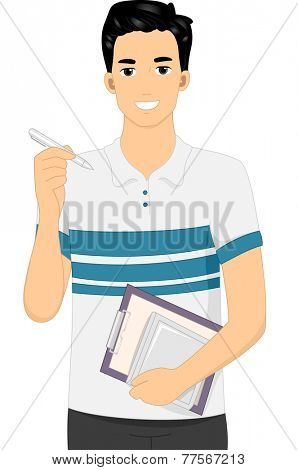 Illustration Featuring a Man Carrying a Graphics Tablet and a Stylus